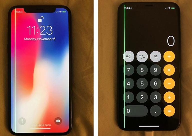 iPhone X полосы зеленого цвета фото 1